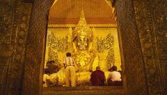 Golden Mahamuni Mandalay Stock Footage