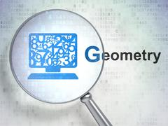 Education concept: Computer Pc and Geometry with optical glass Stock Illustration