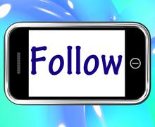 Follow smartphone means following on social media for updates Stock Illustration