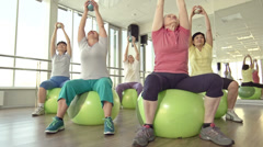 Swiss Ball Exercise Stock Footage
