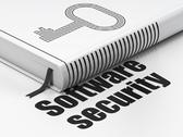 Stock Illustration of Privacy concept: book Key, Software Security on white background
