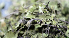 Heap of dried mint Stock Footage