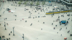 Alexanderplatz, Berlin, Germany, Aerial view of busy crowd walking, 4K Stock Footage