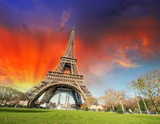 Paris, France. Wonderful view of Tour Eiffel with gardens and co - stock photo