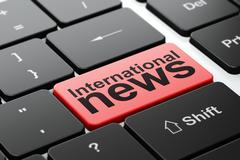 International News on computer keyboard background - stock illustration