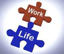 Work life puzzle shows balancing job and relaxation Stock Illustration