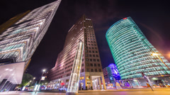 Potsdamer Platz, Berlin, Germany, Night traffic colorful time lapse, 4k Stock Footage