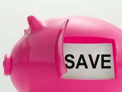 save piggy bank shows savings on products - stock illustration