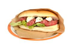 Oxen sausage beef. - stock photo