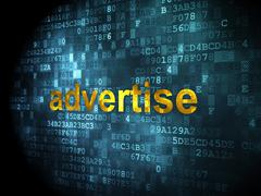 Marketing concept: Advertise on digital background - stock illustration