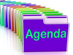 Agenda folders show schedule lineup or timetable Piirros