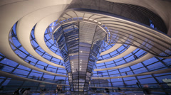 Spiral walkway in the futuristic Reichstag dome, looking up, Berlin, Germany,4k Stock Footage