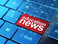 Education News on computer keyboard background - stock illustration
