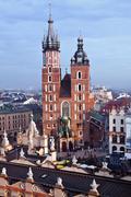 st. mary's church and sukiennice in krakow - stock photo