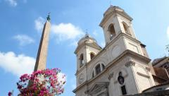Trinita dei Monti at Spanish Steps, Rome, Italy Static Stock Footage