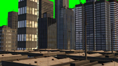 Skyscraper in sunset - tracking shot - green screen background - stock footage