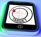 Stock Illustration of target smartphone shows goals aims and objectives