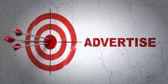 Stock Illustration of Advertising concept: target and Advertise on wall background