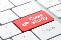 Education concept: Gears and Case Study on computer keyboard background Stock Illustration