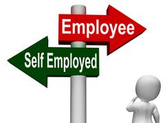 Employee self employed signpost means choose career job choice Stock Illustration