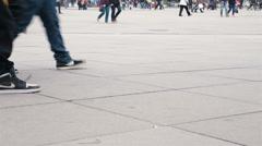 Ground level view of busy pedestrian foot traffic in Alexanderplatz, Berlin, 4K Stock Footage