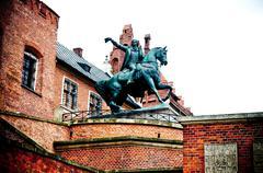 monument tadeusz kosciuszko on wawel hill in cracow (poland) - stock photo