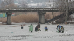 Fishing, nature, winter Stock Footage