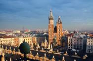Stock Photo of st. mary's church and sukiennice in krakow