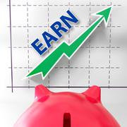 Earn graph means rising income gain and profits Stock Illustration