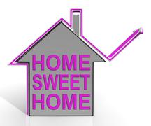 Home sweet home house means homely and comfortable Stock Illustration