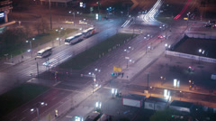 Busy train and street traffic at night, Alexanderplatz Berlin, Germany 4k Stock Footage