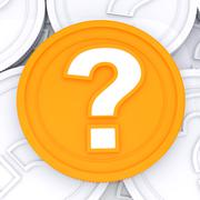 question mark coin means  wondering about money - stock illustration