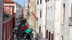 Stock Video Footage of Crowded Venice Italy Street - Static