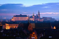 Wawel hill with castle in krakow at night Stock Photos