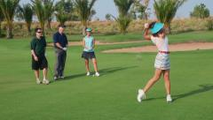 10of30 Portrait of happy people playing in golf club, sport - stock footage