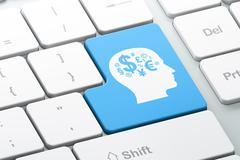 Advertising concept: Head With Finance Symbol on computer keyboard background Stock Illustration
