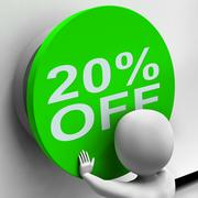 Stock Illustration of twenty percent off button shows 20 price reduction