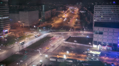 Busy tram and street traffic at night, Alexanderplatz, Berlin, Germany, 4k Stock Footage