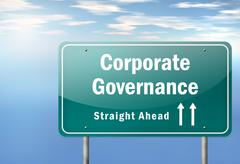 Stock Illustration of highway signpost corporate governance