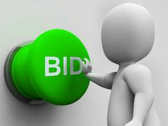 Bid button shows auction bidding and reserve Stock Illustration