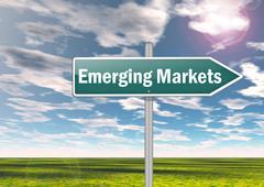 Signpost emerging markets Stock Illustration