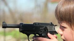 Boy with gun,boy playing weapon,little warrior Stock Footage