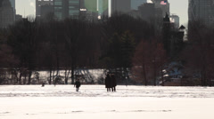 Child Playing In Snow In Central Park New York Stock Footage