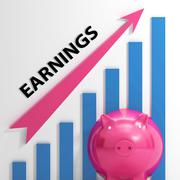 Earnings graph shows company sales and income Stock Illustration