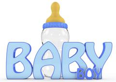 A colourful 3d rendered baby boy text Piirros