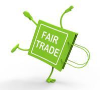 Stock Illustration of handstand fairtrade shopping bag shows fair trade product or products