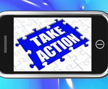 Take action tablet shows motivate to do something Stock Illustration