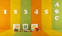 Green orange and yellow playroom Stock Illustration