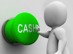 cash button shows money earning and spending - stock illustration