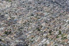 south central los angeles aerial - stock photo